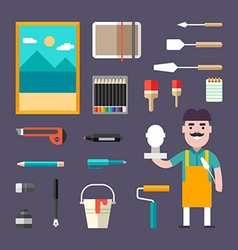 Painting Tools and Appliances Male Cartoon vector image