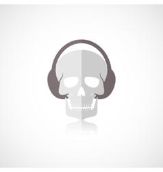 Skull with headphones icon vector image