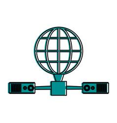 earth globe diagram global communications icon vector image