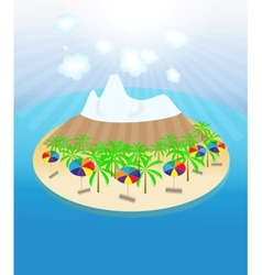Island palm trees sun umbrellas seamless pattern vector image