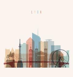 lyon skyline detailed silhouette vector image