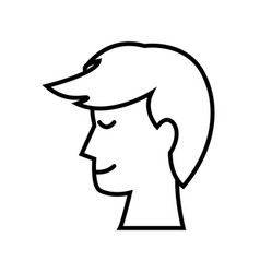 Profile head man smile people image outline vector