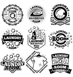 Set of Laundry badges With bubbles vector image