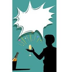 Silhouette man with champagne glass in hand vector image vector image