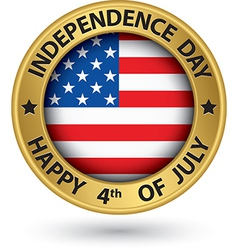 USA Indpendence Day the 4th of july gold label vector image vector image