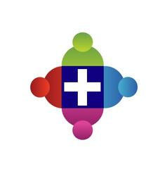 Teamwork with a cross logo vector image vector image