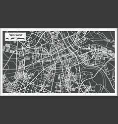 warsaw poland map in retro style vector image