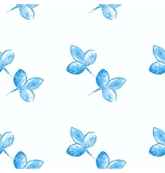 Watercolor blue flower silhouette closeup isolated vector image