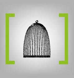 bird cage sign black scribble icon in vector image