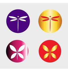 Dragonfly logo and butterfly symbol insect logo ve vector image vector image