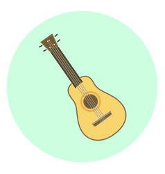 Flat ukulele small hawaiian guitar vector