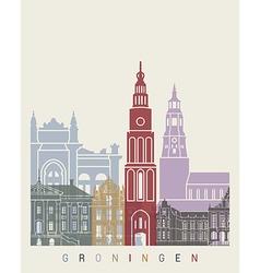 Groningen skyline poster vector image vector image
