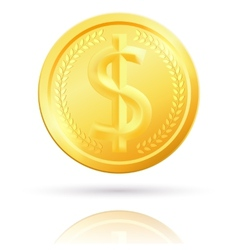 Isolated gold dollar coin vector image