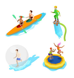 isometric people on water activity kayaking vector image vector image