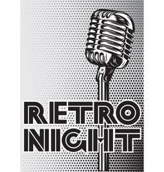 poster with a vintage microphone on gray vector image vector image