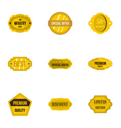 premium golden badges icons set flat style vector image