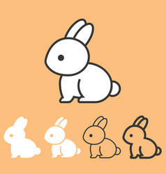 rabbit icon outline and silhouette design vector image vector image