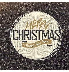 Retro Merry Christmas Card Design Christmas vector image vector image
