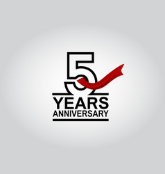5 years anniversary logotype with black outline vector
