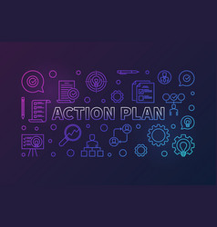 action plan horizontal creative outline banner or vector image