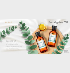 Advertising with 3d bottle of eucalyptus oil vector