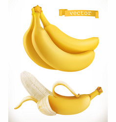 bananas fresh fruit 3d realistic icon vector image