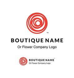 Beautiful contour red logo with rose flower vector