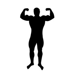 black silhouette of figure man bodybuilder on vector image