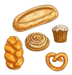 Bread sorts and bakery products pencil sketch vector