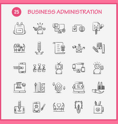 Business administration hand drawn icons set vector