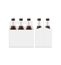 carrier packaging box mockup with brown glass beer vector image