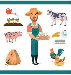 cartoon farm clipart collection vector image