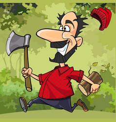 Cartoon funny lumberjack runs through the forest vector