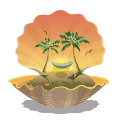 Cartoon island at sunset in the seashell vector