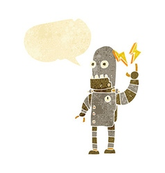 Cartoon old robot with speech bubble vector