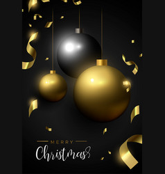 christmas card black and gold ornament baubles vector image