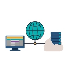 Cloud computing and web hosting design vector