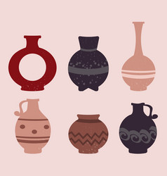 Collection of cute colorful ceramic vases vector
