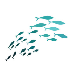 Colored silhouettes of groups of sea fishes vector
