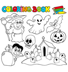coloring book with halloween theme vector image