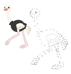 Connect dots game ostrich vector