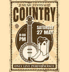Country music festival vintage poster vector