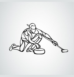 Curling athlete isolated silhouette curler vector