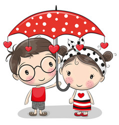 Cute boy and girl with umbrella vector