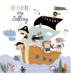 cute cartoon kids pirates sailing in their ship vector image
