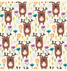 cute childish pattern with deer grass and flowers vector image