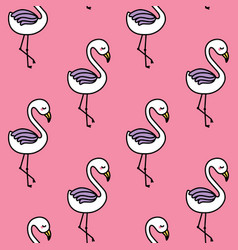 Cute flamingo seamless pattern with pink vector
