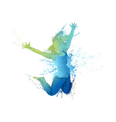 Dancing girl with colorful splashes on white vector
