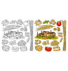 Different types macaroni vintage black vector
