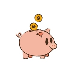Drawing save money piggy coins bank vector